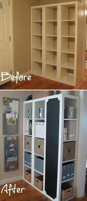 Хороший и простой вариант, то как  быстро облагородить самый обычный шкаф - эта идея понравится многим.