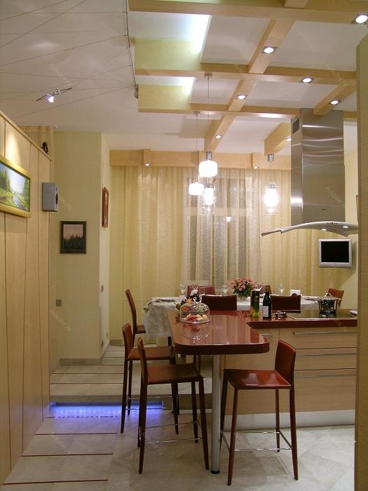 Отличное решение оформить кухню с крохотной площадью с симпатичным освещением.