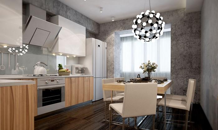 Крутой декор кухни создан благодаря современной люстре.
