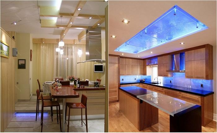 Примеры декорирования кухни с помощью оригинальной подсветки.