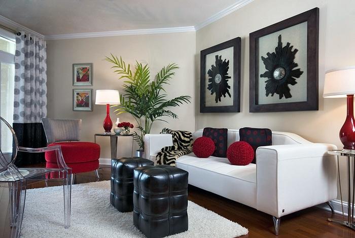 Мабуть, один з кращих варіантів декорувати інтер'єр крихітній вітальні в класичній колірній гамі.
