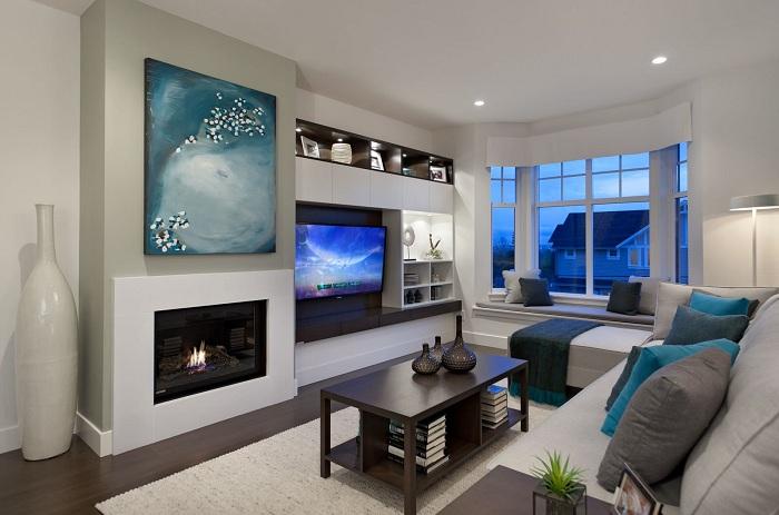 Хороший варіант оформити вітальню з зоною для перегляду телевізора.