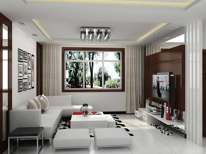 Для того щоб візуально розширити простір вітальні варто використовувати світлі тони.