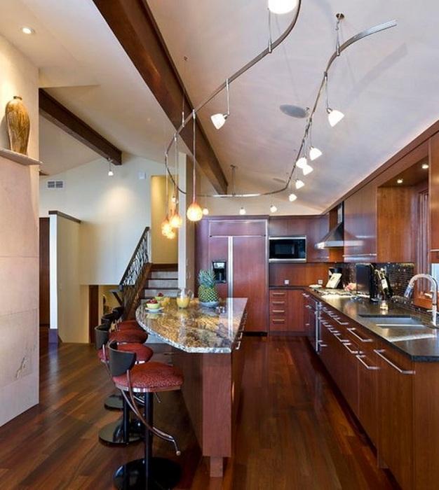 Риллинговые светильники - оригинальное решение для кухни.