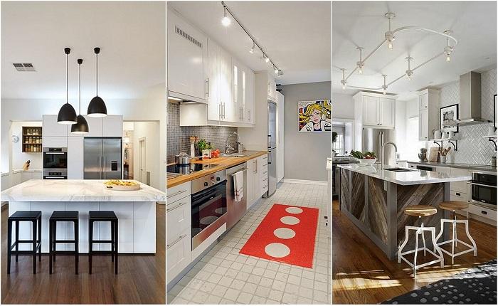 Примеры оформления освещения на кухне.