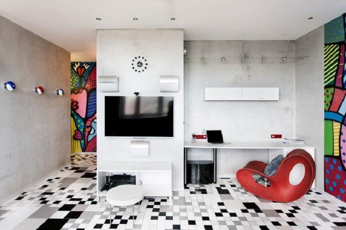 Нестандартный интерьер домашнего офиса в промышленном стиле, стильный и практичный одновременно.