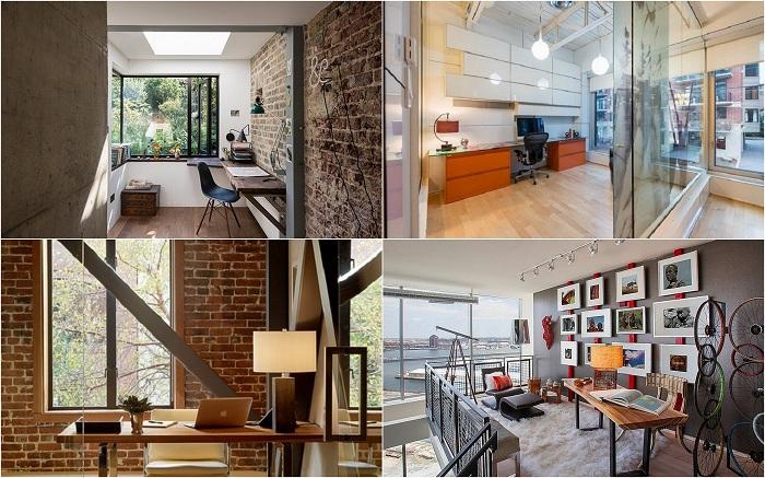 Примеры оформления домашних офисов в промышленном стиле, которые необычны своим дизайном и в тоже время практичны.