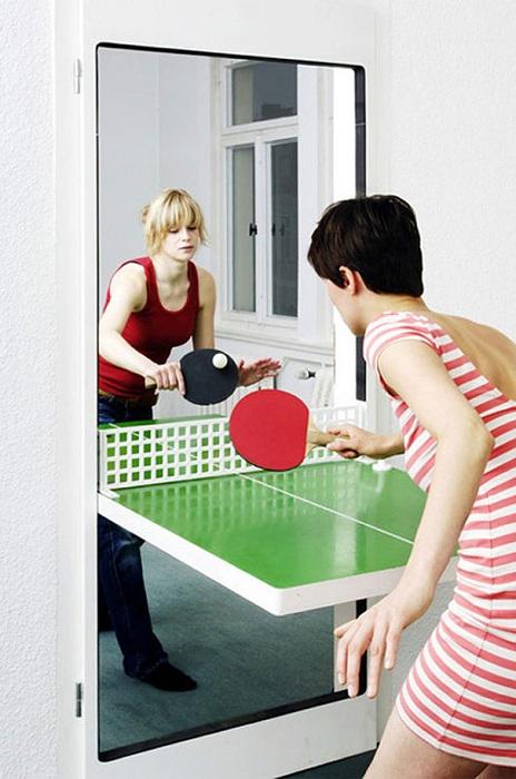 Интересная дверь прекрасно отображает инновационные её особенности и приспособлена для игры в пинг-понг.