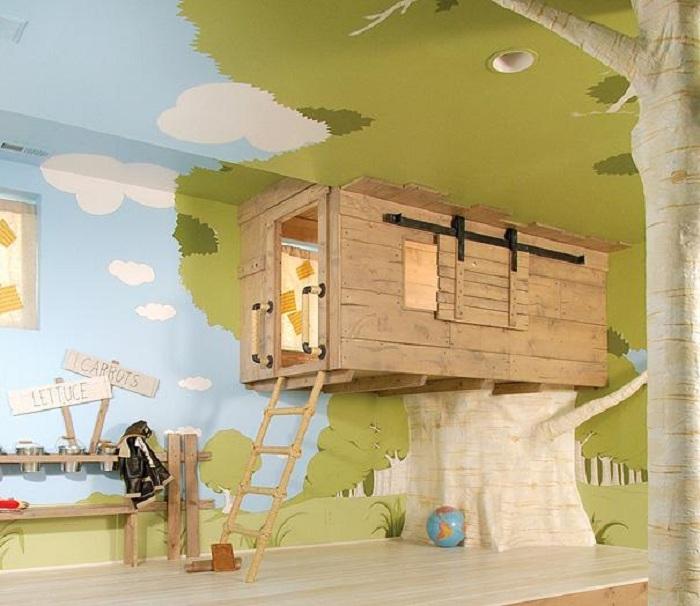 Отличный вариант украсить необычным образом комнату для игр детей, что произведет необыкновенное впечатление.