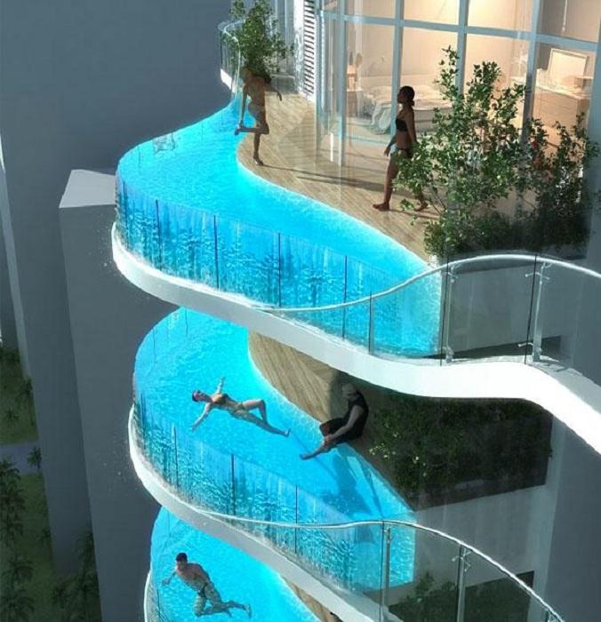 Интересный балкон бассейн, который влюбит в себя с первого взгляда.