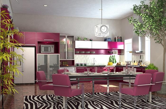 Сочетание цвета спелого винограда с черно-белым насыщает кухню необычным настроением и дает возможность разгуляться фантазии.