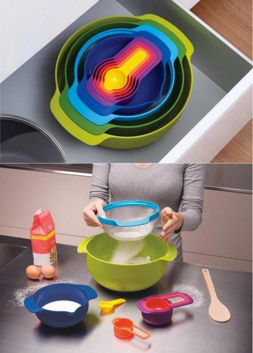 Отличный набор для кухни из девяти предметов, которые явно сэкономят пространство.