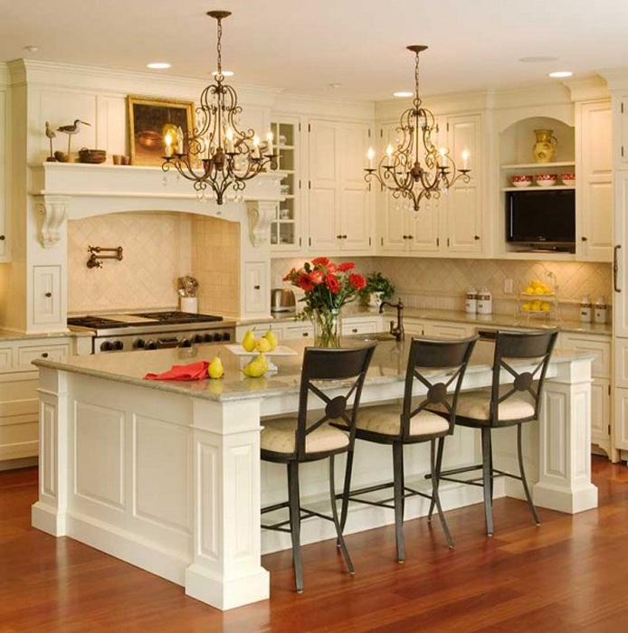 Прекрасное оформление кухни в классическом стиле, то что нужно для души.