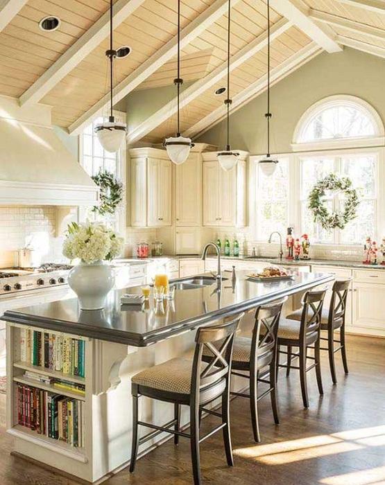 Превосходный воздушный дизайн интерьера кухни создан при помощи кухонного стола.