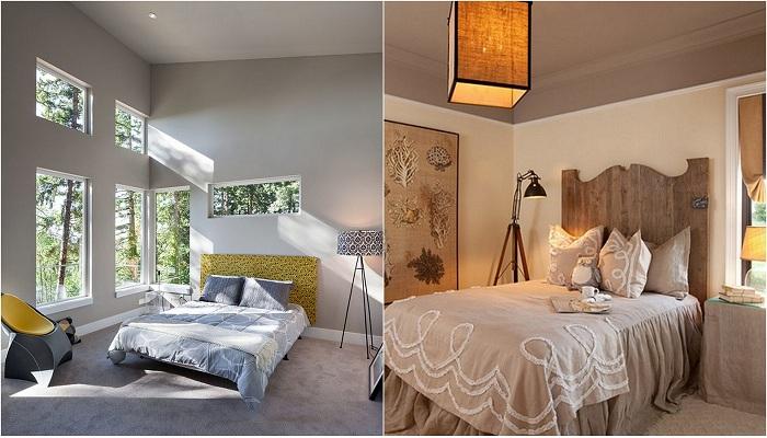 Примеры оформления спален с торшерами-штативами.