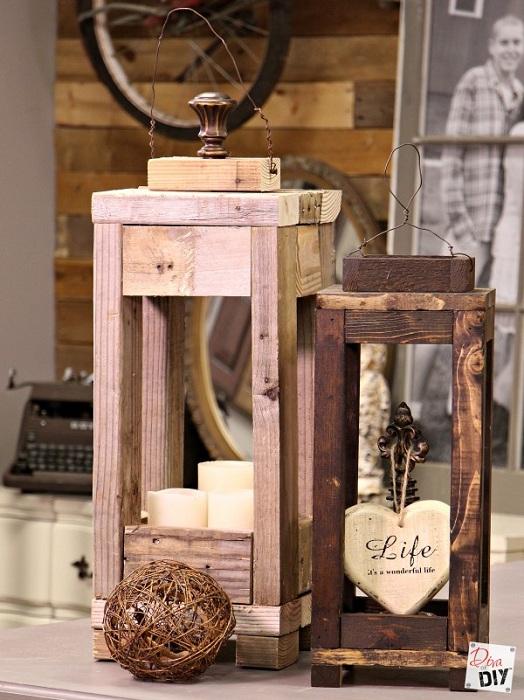 Прекрасный вариант оформить фонарики для сада из деревянной текстуры.