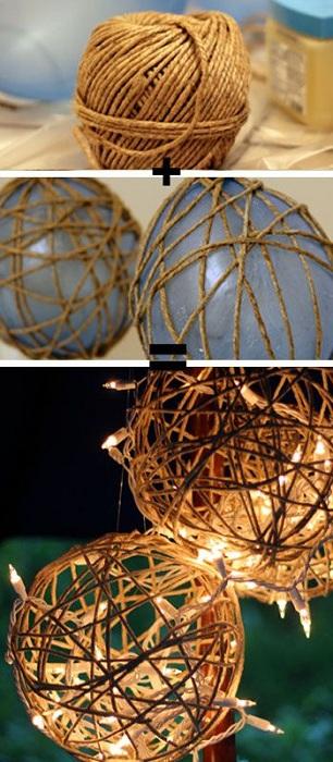 Отличный вариант оформления фонариков из плотной нити для украшения сада.