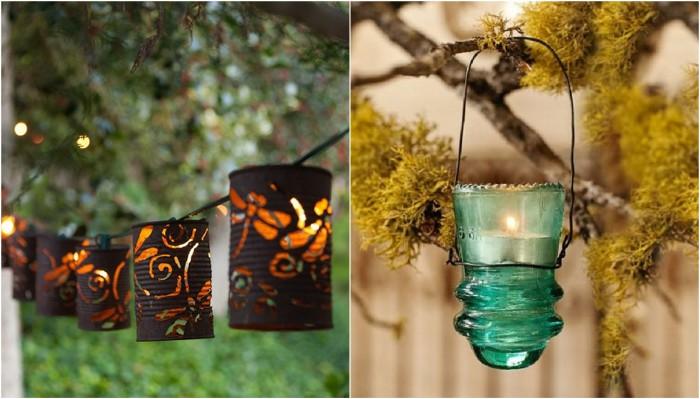 Примеры оформления красивых садовых фонариков своими руками.