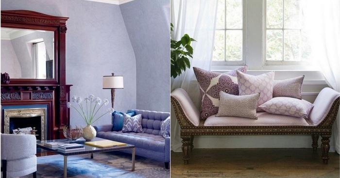 Примеры оформления интерьера в лавандовом цвете.