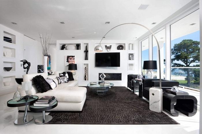 Классика использована в цветовой гамме дизайна гостиной - красиво и строго одновременно.