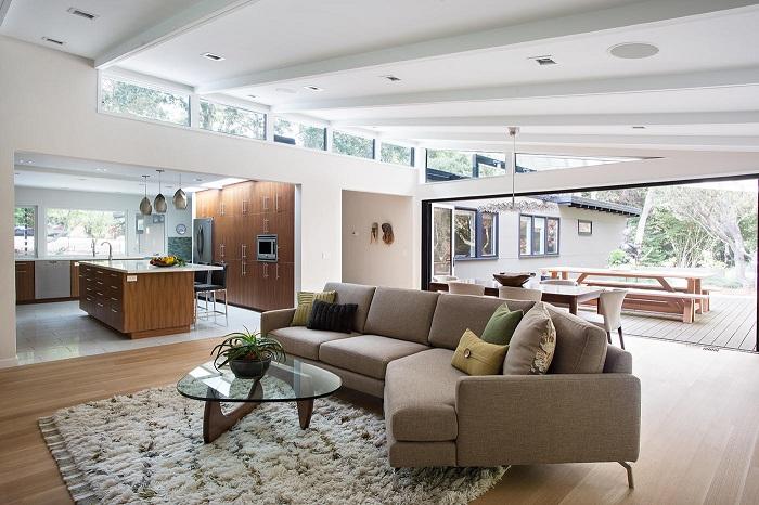 Гостиная в коричнево-кофейных оттенках наиболее оптимальное решение для дизайна комнаты для отдыха.