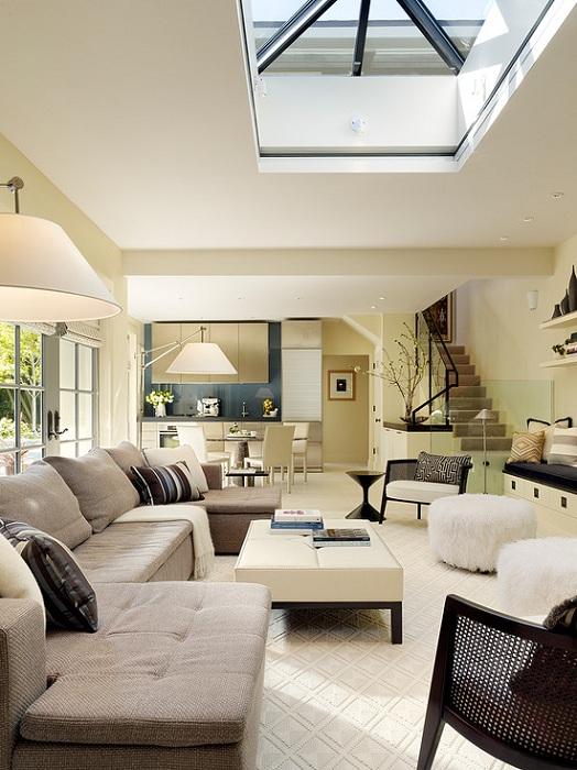 Прекрасный интерьер гостиной в современном оформлении, то что понравится.