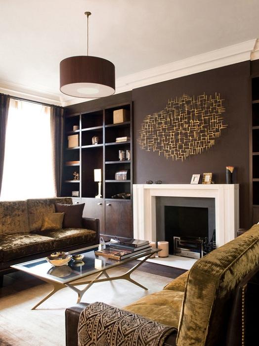 Оригинальный и прекрасный интерьер гостиной в шоколадном цвете, что создаст непревзойденную обстановку в комнате.