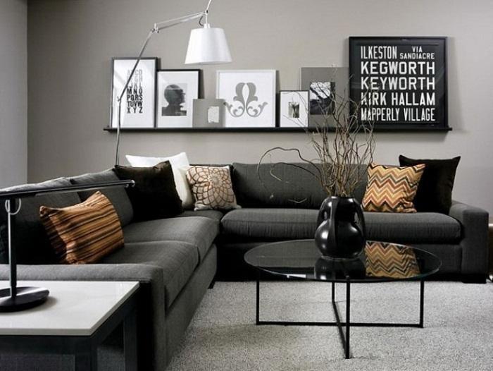Хороший вариант для того чтобы создать стильное оформление интерьера при помощи комбинации в серых тонах.