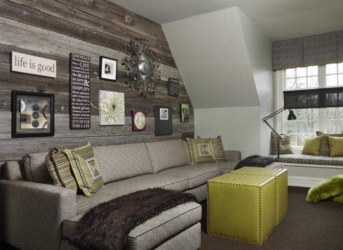 Вдохновится возможно при помощи просто шикарного интерьера с деревянной стеной и отменными элементами декора.