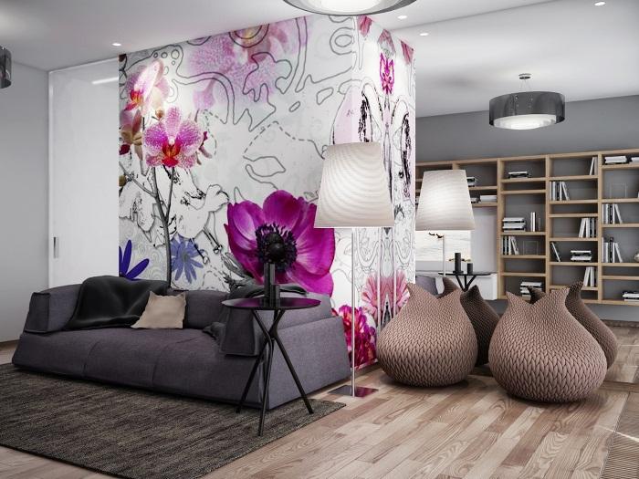 Прекрасный вариант создать отличное настроение благодаря просто невероятному оформлению стены яркими обоями.