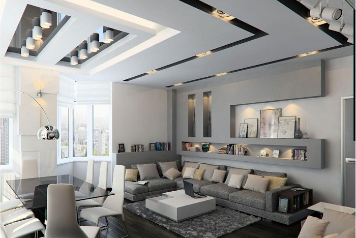 Красивый интерьер гостиной в светло-серых тонах, что по особенному вдохновит и создаст очень легкую атмосферу.