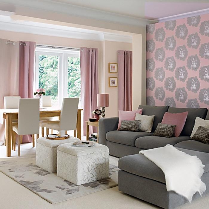 Нежно-розовые тона в декорировании гостиной станут оригинальным и необычным вариантом декора.