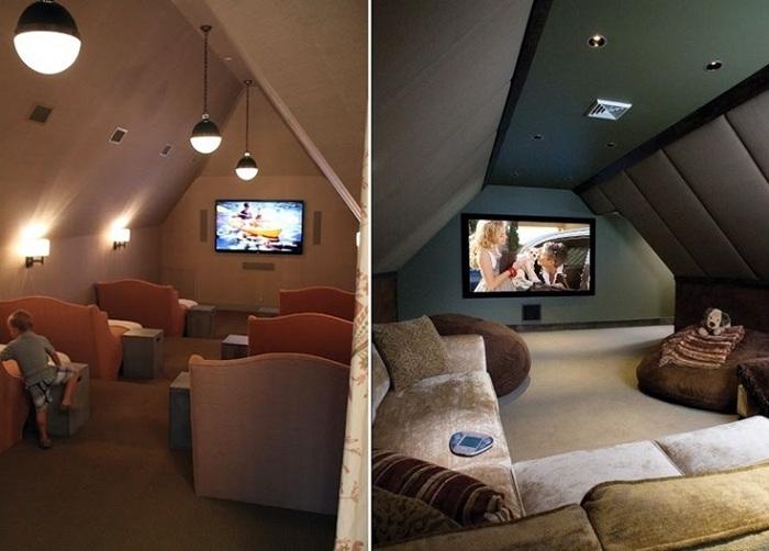Доступный и удобный кинозал расположился на чердаке дома, создает просто оптимальную обстановку для полноценного отдыха.