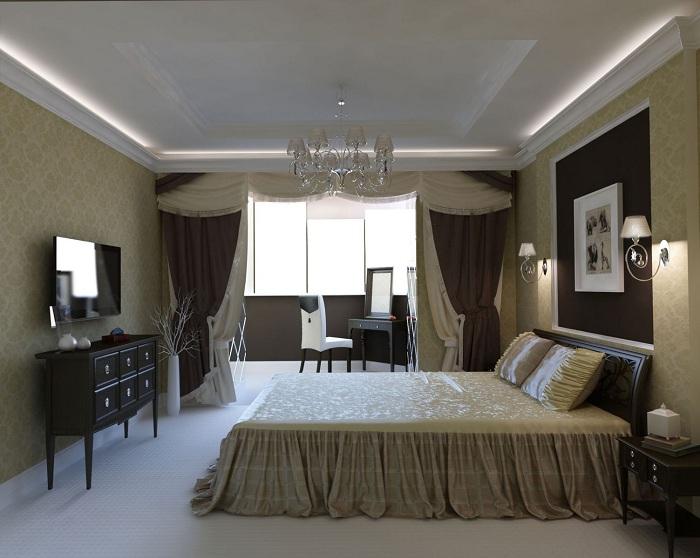 Спальня в классическом стиле получила еще одну маленькую комнату.