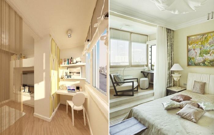 Объединение комнаты и лоджии - прекрасный вариант для расширения пространства.