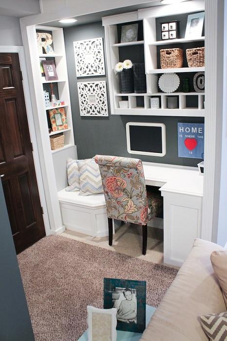 Хороший вариант для оформления мини-офиса дома, то что точно понравится и создаст комфортную атмосферу.