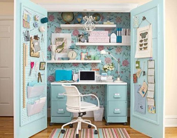 Отличный вариант оформления мини-офиса, который станет просто находкой для любого интерьера.
