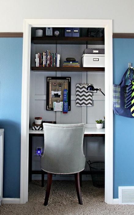 Отменное оформление мини-офиса дома, что поможет организовать аккуратное рабочее пространство.