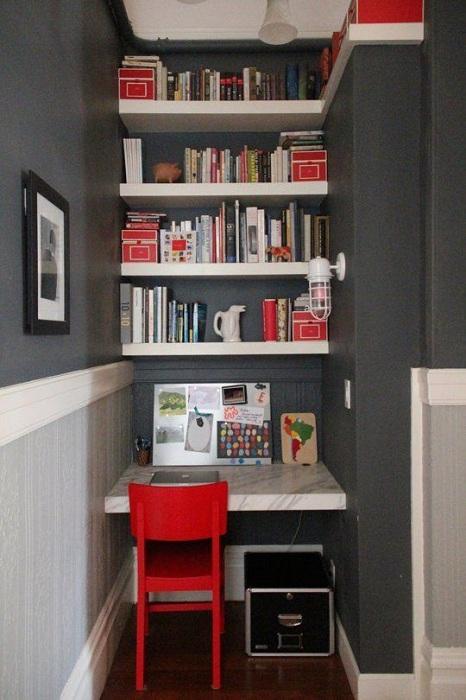 Домашний мини-офис, который станет просто отменным вариантом для экономии пространства.