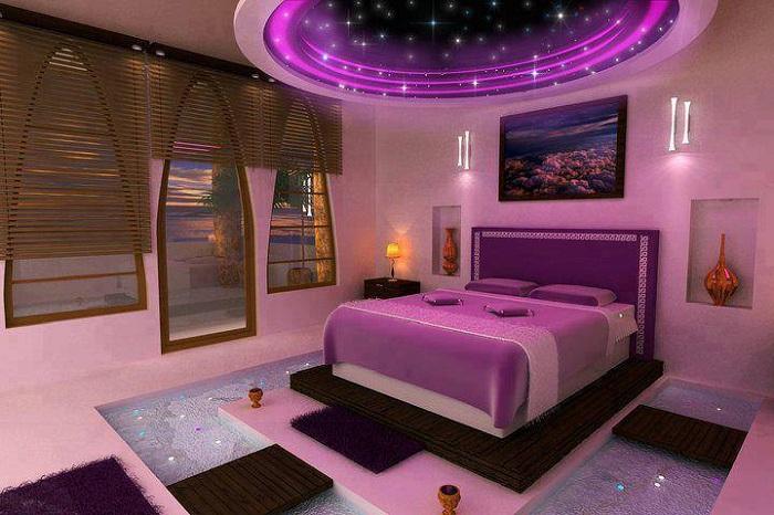 Симпатичный вариант оформления звездной фантазии просто в комнате для отдыха, то что порадует глаз необычайной красотой.