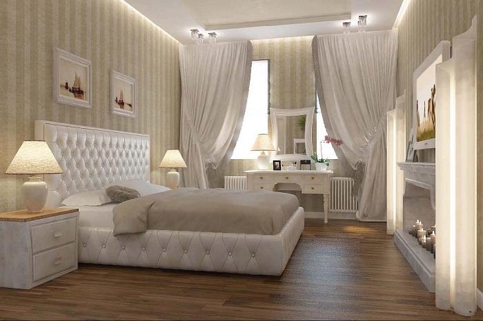 Симпатичный и воздушный интерьер в спальне, которая оформлена в нежных кремовых светлых тонах.