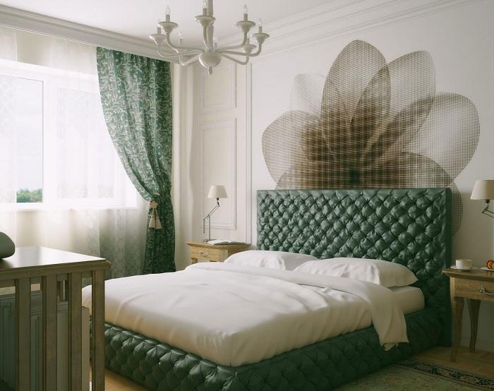 Спальня оформлена в зеленых и белых тонах, то что создаст своеобразную и интересную обстановку с нотками таинственности.