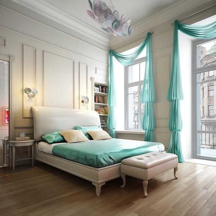 Просто невероятное сочетание молочного и бирюзового цвета, которые создадут гармонию и идиллию в любой из комнат.