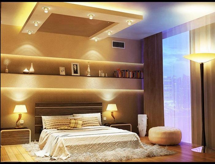 Приятные моменты проведенные в спальной с невероятным освещением останутся в памяти навсегда и оставят только хорошие воспоминания.