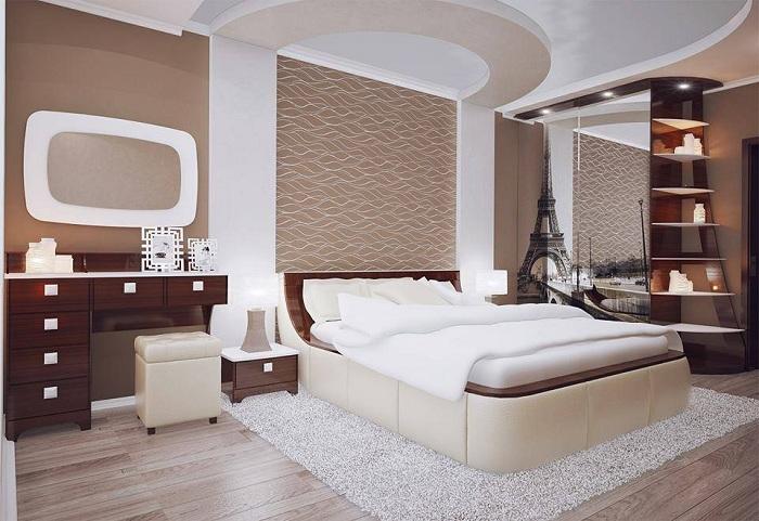 Прекрасный вариант оформления спальни в нежных и пастельных тонах, что понравится каждому.