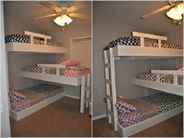 Отменный интерьер спальни в детском оформлении, что максимально комфортно организует пространство.