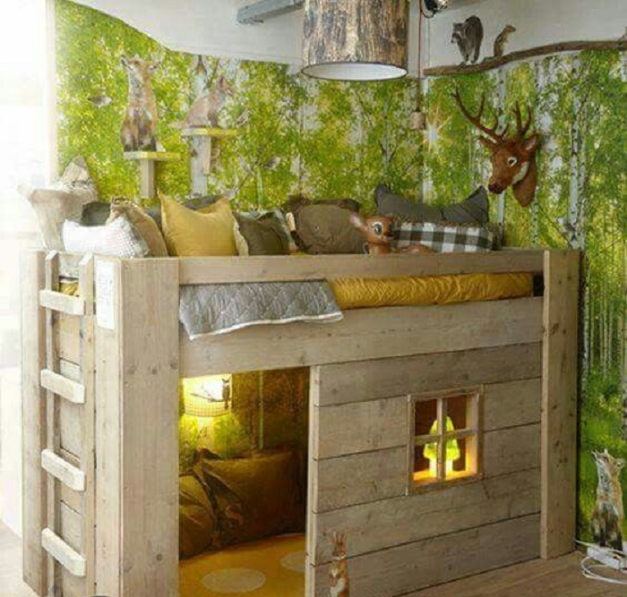 Прекрасный интерьер в комнате позволит оптимизировать пространство в сказочных мотивах.