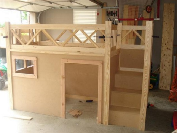 Оформление детского мини-домика, что станет просто особенностью этой комнаты.