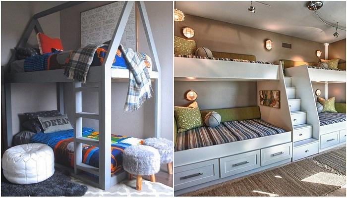 Примеры двухъярусных кроватей, которые благоустроят детскую комнату.