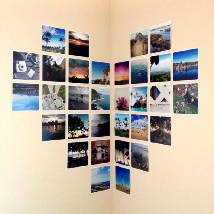 Быстрое и оригинальное решение создать симпатичный декор с помощью украшения угла комнаты фотографиями.